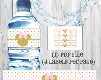 DIGITAL Minnie Pink and Gold water bottle labels