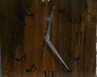 Wooden music clock