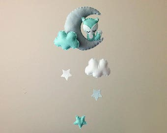 Fox Nursery Decor . Nursery Wall Art . Fox Baby Mobile . Mint & Grey Nursery Decor . Moon And Stars . Fox Wall Hanging. Boy Baby Shower Gift
