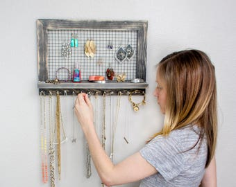 Rustic Jewelry Holder with Rods - Organizer for Necklaces / Bracelets / Earrings / Accessories