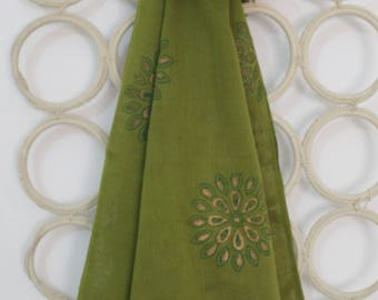 Green Hand block printed stole