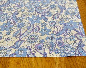 """retro Vintage Mid Century Floral Blue and Purple Fabric 104"""" by 90 """""""