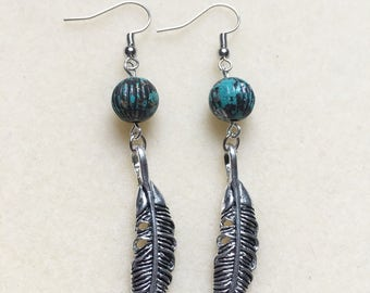 Dangle earrings with feather charms
