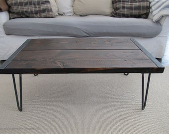 Reclaimed Wood Coffee Table with Hairpin legs,Industrial Wood Coffee Table,Coffee Table with hairpin legs