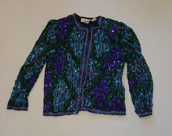 Vintage Laurence Kazar Beaded Sequin Top, Medium