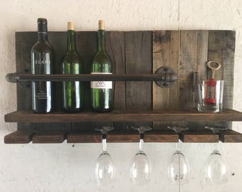 Rustic Wine Rack - Industrial Wine Rack - Wall Wine Rack