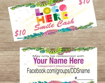 DotDotSmile,Smile Cash with flowers, Personalized, Digital Download, Printable and Double Sided DotDotSmile
