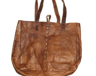 Handmade Leather Bag - Tote Bag Women Handbag Backpack Market Messenger Shoulder Diaper Brown Black