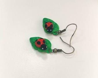 Beetles on a leaf Earrings