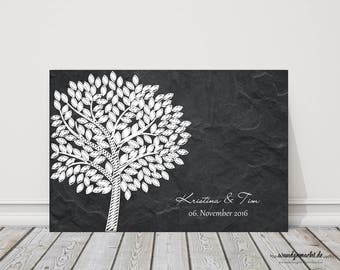 "wedding fingerprint tree guestbook wedding confirmation ""Slate tree"" on canvas"