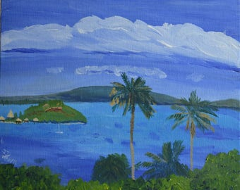 wall art, painting,caribbean, landscape, seascape, island, pamtree,