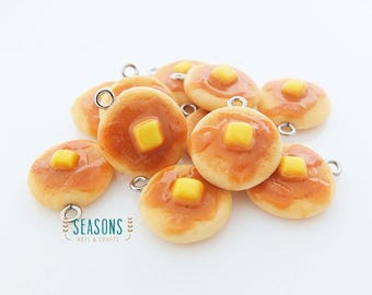 Pancake Clay Charm (2/4/6 pcs) - Jewelry Supply - Miniature Food - Food Jewelry - Planner Charm - Gift for Her - Stitch Marker