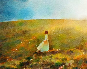 Girl on the Hill Original Watercolour Painting Q94