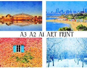 Large Size A3 A2 A1 Watercolour Painting Art Print