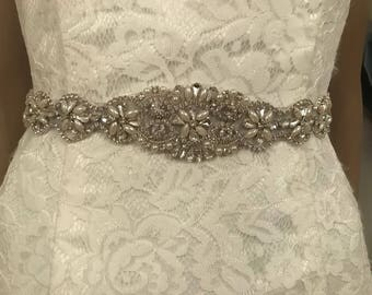 Silver/grey crystal/pearl beaded bridal sash belt