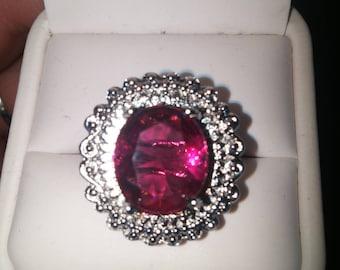 SALE Raspberry Rhodolite Garnet Ring, 925 Silver w/Platinum, Free Shipping.