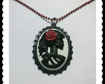 Sugar Skull with Red Rose Pendant - Red and Black - Vintage theme - Red Ball Chain - Rose