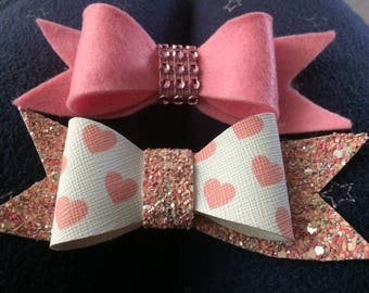"2 x Girls pink bow hair clips 3.5"" Leatherette - Felt - Glitter bows -"