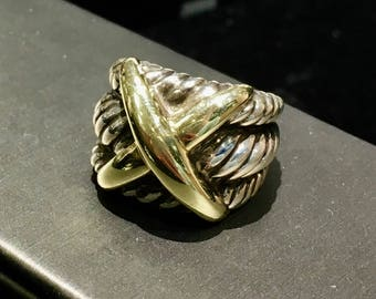 Authentic David Yurman Sterling and 14k gold X Thoroughbred Cable Ring
