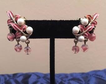 Lovely Vintage Coro Pink Enamel Clip Earrings