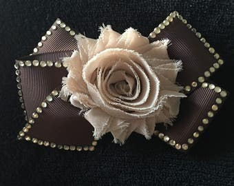 Beautiful Brown and Beige Hair Bow