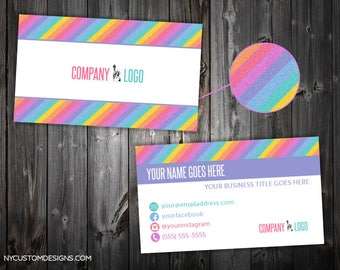 Glitter Stripe Design | Double Sided Business Card | Standard Size 3.5 x 2 | Personalized