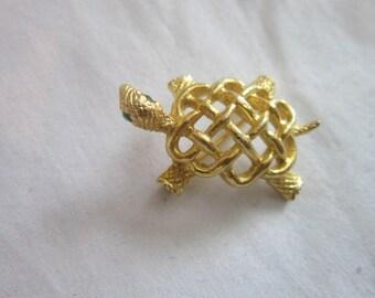 Vintage Gold Tone with Green Rhinestones Eyes Turtle Brooch