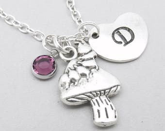 Toadstool with caterpillar heart initial necklace   toadstool necklace   toadstool pendant   toadstool caterpillar jewelry   letter