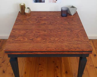 Square coffee table, natural timber wood grain, painted charcoal, upcycled