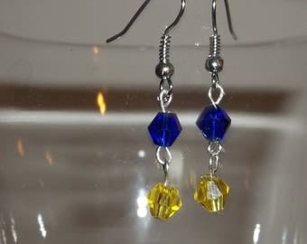 Crystal earrings Blue and Gold