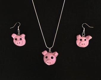 Pig Matching Necklace and Earrings