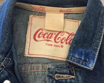 Women's Denim Coca Cola Jacket, Blue Jean, Signature Coca Cola Buttons, Button Down