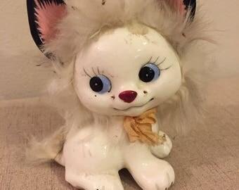 Vintage Ceramic White Cat with Fur Figurine , Ucagco Japan , Kitten
