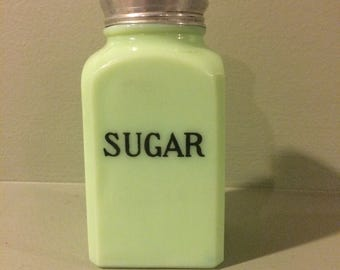 Jeannette Jadite sugar shaker, 1930's