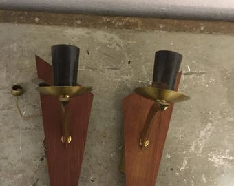Wall lamps 50 he years Walllamp Midcentury brass teak