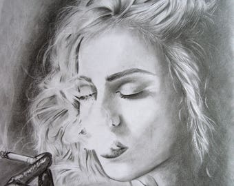Madonna Art, graphite drawing, print, from original