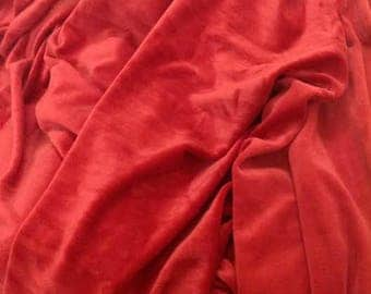 Red Cotton Velvet Fabric,  Red Velvet Fabric By The Yard