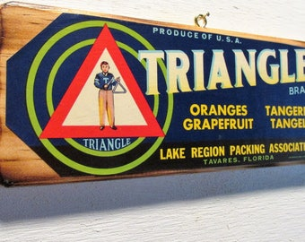 Original Triangle Brand Fruit Crate Label Mounted on Wood