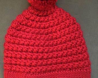 Red Winter Hat with Pom-Pom