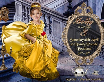 Your daughter as BELLE, face cropped onto the body,Beauty and The Beast Invitation - Beauty and The Beast Birthday Party, Disney princess