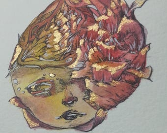 Overgrown Red - Original Watercolor Painting