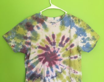 Adult Medium Tie Dye T-Shirt--Handmade--Tie Dye Swirl--Green, Blue, Light Blue, Purple--Cotton