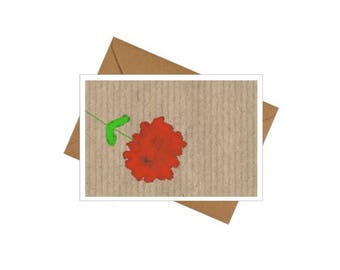 10 Pack Small Notecards/ Gift Cards - Red Flower