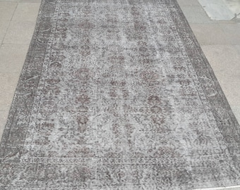 Carpet.253x149cm,8.30x4.89,Turkish carpet grey,,Rug,grey rug,free shpping