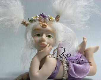 "OOAK fairy fantasy art doll sculpture ""Violet"" baby fae polimery"