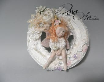OOAK baby Artdolls, miniatures, Doll, One of a Kind, sculpture, fairy, fae, polimery, shabby, POLLY
