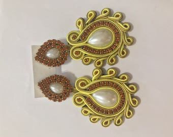 Yelow handmade earrings soutache