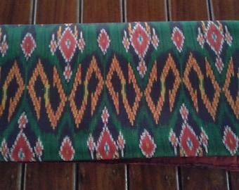 Thai silk fabric multi colored dark green peasant style
