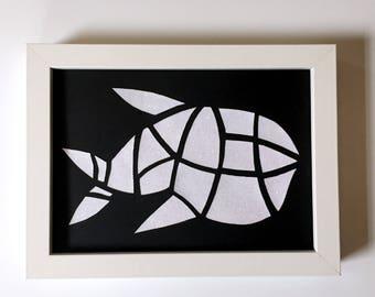 sparkling fish - original, papercut, embossed piece