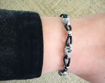 Chainmail Bracelet - Two Tone, Lucky Knots Stackable Bracelet in Silver and Black Rubber